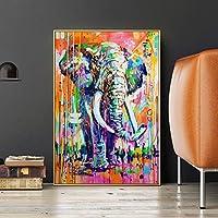 キャンバスに絵画北欧の水彩画の落書き象の壁の芸術は抽象的なポスターカラーに動物の絵を印刷します40x60cmフレームレス