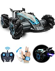 Drifting Stunt RC Car, 2.4GHz Remote Control Car With Gesture Control Band, Racing toy with speed tires 360 turns with LED Lights RC drift cars for Boys Birthday (Grey)