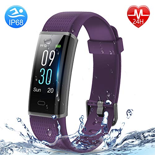 HolyHigh Smart Bands,Fitness Watch IPX68 Waterproof Colorful Screen Heart Rate Sleep Monitor Pedometers Calorie Counter Call Messages Alarm Reminder Reject Call for Men Women Boys Kids (130C-Purple)