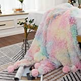 MYRU Plush Super Soft Blanket Bedding Sofa Cover Furry Fuzzy Fax Fur Throw Blanket with Pom Poms (63 x 79 Inch, Colorful)