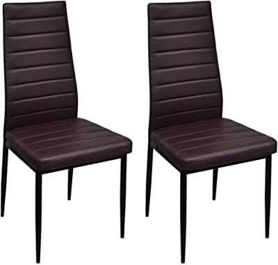 Anself Dining Chairs Vanity Chairs, 2pcs Brown