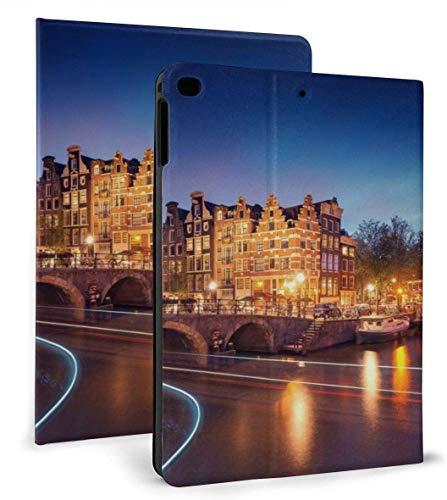 Amsterdam Canal Lights Landscape Funda Inteligente de Cuero PU Función de Reposo / activación automática para iPad Air 1/2 9,7 'Funda