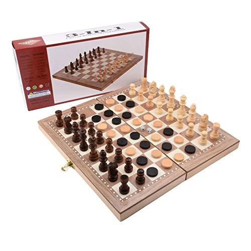 3 in 1 großformatige faltende hölzerne chess set brett spielspiel, holzbrett spiel schachbrett spiel fertigkeit chessmen checker, reise tragbare kinder pädagogisch jungen, mädchen, familien spiele