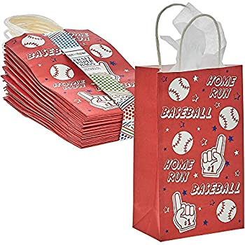 Baseball Party Favor Gift Bags with Handles  Red 5.3 x 9 x 3.15 in 24 Pack