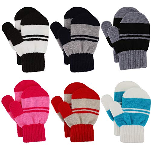 Toddler Mitten Winter Warm Knitted Stripe Gloves Magic Stretch Gloves for...