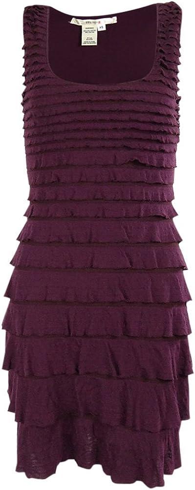 Studio M Women's Tiered Scoop Neck Knit Stretch Dress (XS, Royal Purple)