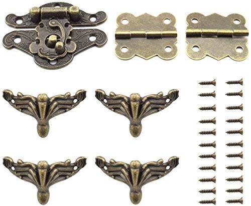 Antik-Bronzefarbene Schnalle und Schmetterlingsform, Scharniere und Halterungsfüße, Retro-Möbel-Dekorationsset für Schmuckkästen, Schrank aus Holz