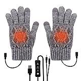 Brynnl Guantes térmicos USB de temperatura ajustable para hombres y mujeres, guantes térmicos eléctricos con pantalla táctil para teléfono portátil, guantes térmicos grandes, regalo de invierno (Grey)
