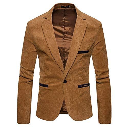 Lanceyy Herren Kord Sakko Männer 1 Sakko Anzugjacken Knopf Einfacher Stil Slim Fit Outerwear Mantel Casual Jacke Freizeitsakkos (Color : Khaki, Size : S)