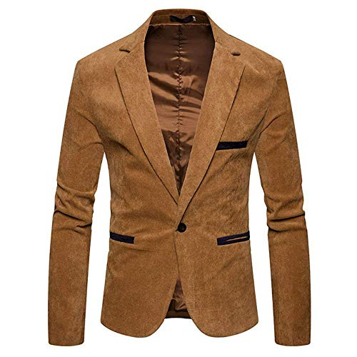 Saoye Fashion Herren Kord Sakko Männer Anzugjacken 1 Knopf Sakko Slim Fit Outerwear Kleidung Mantel Casual Jacke Freizeitsakkos (Color : Khaki, Size : L)