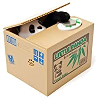Elektronische Spardose in Form einer Kiste mit einem Panda-Bär. Münze auflegen & schon kommt der Little Panda heraus und schnappt sich das Geld. Schnell zieht der Pandabär mit der Pfote die Münze ins innere der Sparbüchse Die elektrische Sparschwein-...