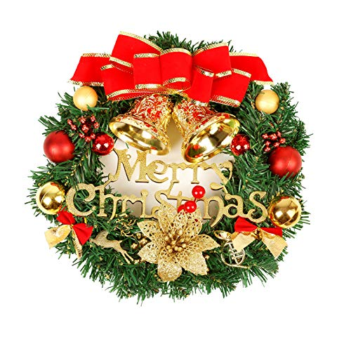 Couronne de noël, Décoration de Noel avec Clochettes Exterieur Idéal Décoration Noël pour Magasins, Bureaux, Sapin de Noel, Diamètre 34cm