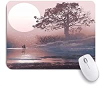 ECOMAOMI 可愛いマウスパッド ロマンス湖の上の満月と雄大な木と地平線上の愛のカップル 滑り止めゴムバッキングマウスパッドノートブックコンピュータマウスマット