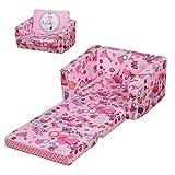 HOMCOM Sillón Infantil 2 Modos de Uso Extensible Ergonómico Funda Lavable Mini Sofá para Niños +12 Meses Asiento Acolchado Esponja 56x42x39 cm Rosa
