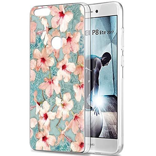 Pnakqil Funda Huawei P8 Lite 2017, Silicona Transparente con Dibujos Diseño Slim Gel TPU Antigolpes Ultrafina de Protector Piel Case Cover Cárcasa Fundas para Movil Huawei P8Lite, Azafrán Blanca
