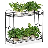 Topeakmart 2-Tier Metal Plant Stand Outdoor/Indoor Flower Stand Rack w/Tray Design for Garden and Home Black,33.5 x 13.4 x 31.9in. W x D x H
