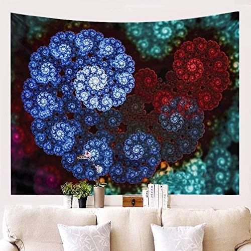 shuimanjinshan Tapestry Wall Hangings,Bohemian Blue Red Mandala Large Size Hanging Cloth 3D Digital Printed Art Tapestry Home Decor For Bedroom Living Room Beach Cushion 130(H) X150(W) Cm