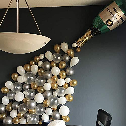 QYWSJ Gran Botella de champán de Papel de Aluminio con Globos Blancos Plateados Dorados para Carnaval Fiesta Boda cumpleaños Navidad Halloween decoración