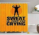 Rideau de douche, rideau de douche transparent, rideau de douche mignon Just Fat Crying Workout Fitness Motivation Creative Ensemble de salle de bain avec crochets Rideau de douche de bain Petit ridea