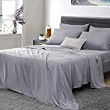 "Umchord Bamboo Sheets Set, 6 Piece 100% Bamboo Bed Sheets California King , Siiky Soft Cooling Sheets for Hot Sleepers, Moisture Wicking Bed Sheets with 16"" Deep Pocket, (Cal K, Grey)"