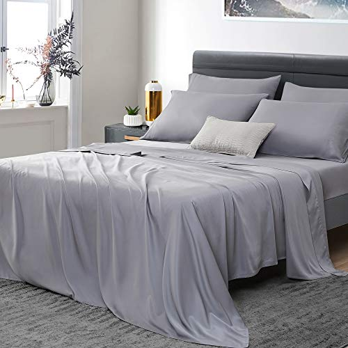"""Umchord Bamboo Sheets Set, 6 Piece 100% Bamboo Bed Sheets California King , Siiky Soft Cooling Sheets for Hot Sleepers, Moisture Wicking Bed Sheets with 16"""" Deep Pocket, (Cal K, Grey)"""