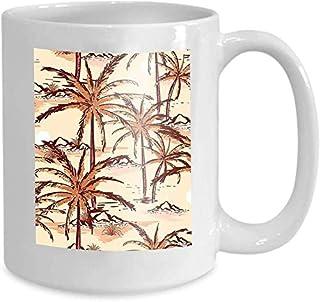 Tasse à café tasse à thé maison belle ligne Vintage dessiné à la main croquis île d'été beac plage palmiers Design tissu d...