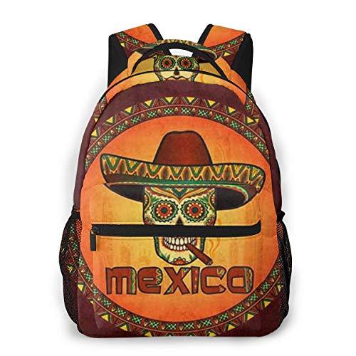 Lawenp Hippie Calavera Mexicana con Sombrero Sombrero con cigarro Mochila Informal para la Escuela Viajes al Aire Libre Gran Bolsa de Moda para Estudiantes