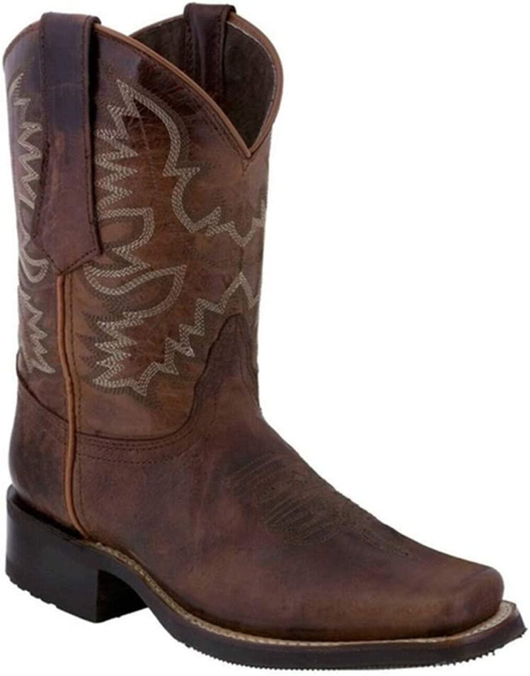 Cowgirl BootsWomen Floral Embroidered Western Boot Square Toe Chunky Heel Mid Calf Boot Retro Plus Size Cowboy Shoes