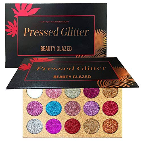 Beauty Glazed Glitter Eyeshadow Palette Pigmented Glitters Makeup Creamy Glitter Pro Makeup Palettes for Glitter Eyes Shimmer and Gorgeous 15 Colors Waterproof Magnetic