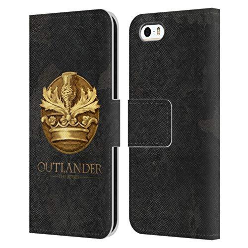 Head Case Designs Licenza Ufficiale Outlander Scozzese Appartenente All'Ordine del Cardo Sigilli E Icone Cover in Pelle a Portafoglio Compatibile con Apple iPhone 5 / iPhone 5s / iPhone SE 2016