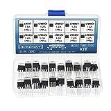 AUKENIEN 10 Values 50 Pcs Linear High-Current Positive Voltage Regulator IC Assortment Kit Contains LM317 L7805 L7806 L7808 L7809 L7810 L7812 L7815 L7818 L7824 - TO-220 Package