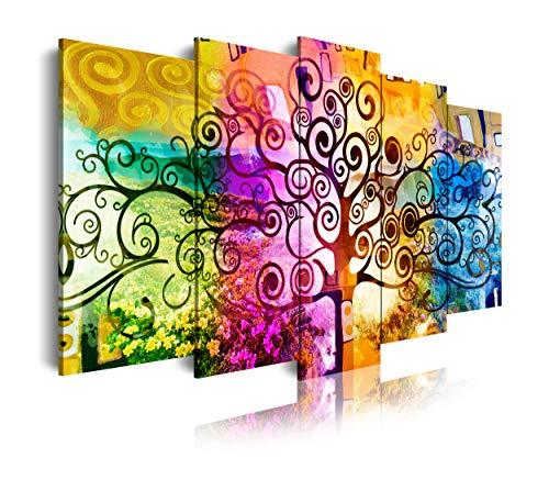 DekoArte 534 - Cuadros Modernos Impresión de Imagen Artística Digitalizada | Lienzo Decorativo para Salón o Dormitorio | Estilo Abstractos Arte Árbol de la Vida Gustav Klimt | 5 Piezas 200x100cm XXL
