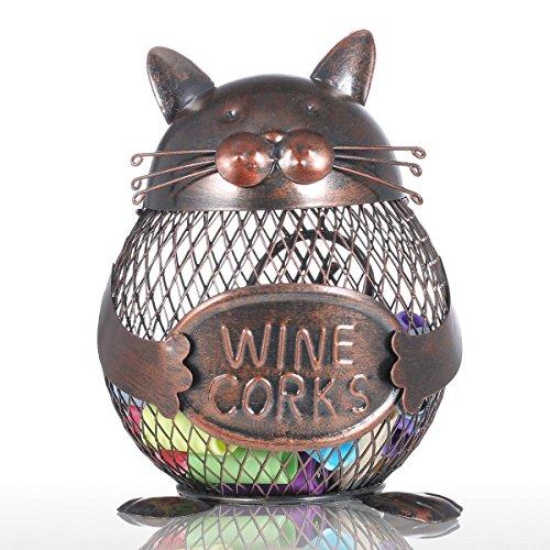 Tooarts - Contenedor de corcho de vino,gato-forma de hierro,color marrón