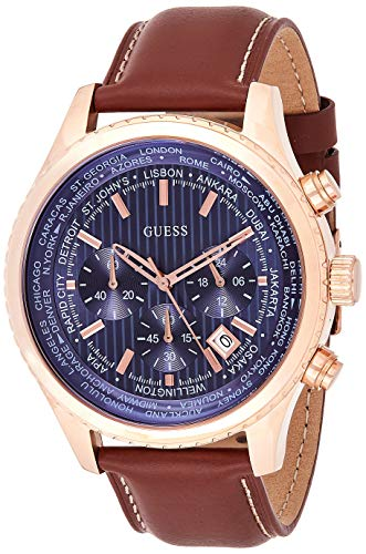 Guess Herren Chronograph Quarz Smart Watch Armbanduhr mit Leder Armband W0500G1