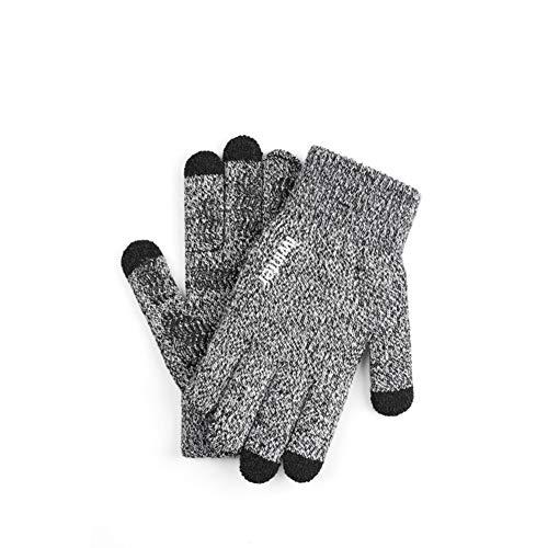 LLUVIAXHAN Winterhandschuhe für Männer und Frauen - Knit Touch Screen Anti-Rutsch-Silikon-Gel - elastische Manschette - Thermal weicher Wolle Futter - dehnbares Material,Weiß
