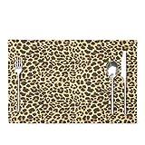 Animal Print Placemats Deronge Brown Cheetah Leopard Animal Skin Jaguar Wild 12x18 Inch Place Mats Set of 4 Kitchen Table Mats Washable Heat Resistant Stain-Resistant Non Slip Placemats,Brown Brown