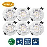 KINGSO 6 Pack Spots LED Encastré GU10 5W 500lm Spots de Plafond Blanc Chaud 3000K AC...