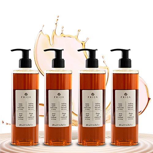 Prija Flüssigseife mit Ginseng mit praktischen Spendern – 4x 380 ml natürliche vegane Handseife zur täglichen Anwendung
