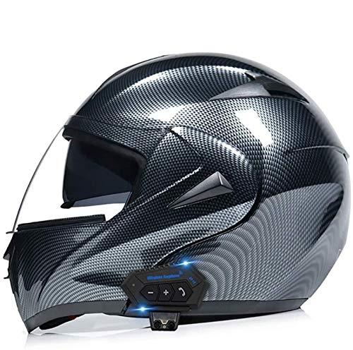 Egrus Moto Bluetooth Caschi, Vibrazione di modulare la Doppia Visiere caschi del Fronte Pieno, DOT Approvato Casco, MP3 Incorporato Radio FM Integrata Intercom Sistema di Comunicazione L = 59~60CM