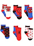 Super Hero Adventures Spider-Man Baby Toddler Boys 6 pack Socks with Grippers (5-7 yrs, Red/Blue)