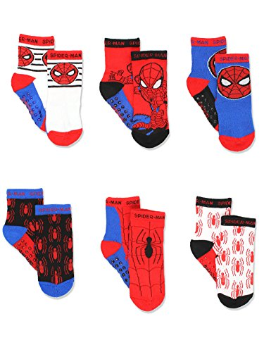 Super Hero Adventures Spider-Man Boys 6 pack Socks with Grippers...
