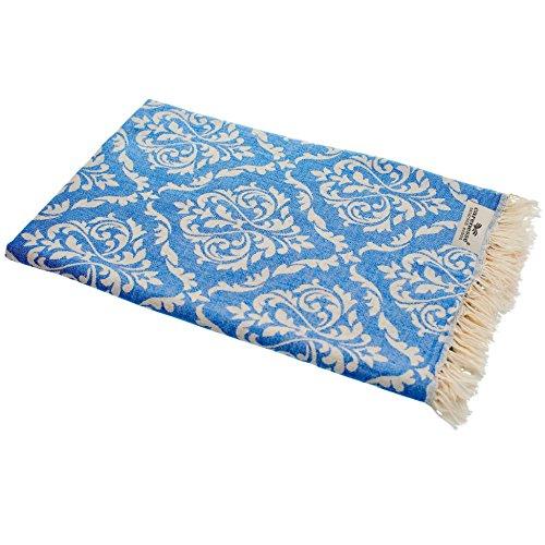 Carenesse Hamamtuch BAROCK blau, Edles und Hochwertiges Doubleface Hamam Tuch, 100% Baumwolle, 90 x 175 cm, Strandtuch, Saunatuch, Schultertuch, Schal, Pareo, Stola