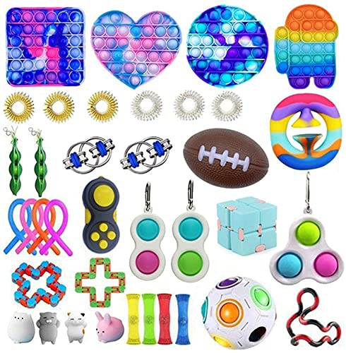37pc Fidget Toys Pack, Fidget Toy Set Fidget Pack Sensory Relieves Stress Anxiety for Kids Adults, Fidget Pack with Simple Dimple in It, Tie Dye Push Pop Bubble Toy &More