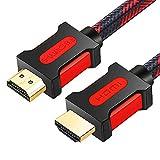 Shuliancable Cable HDMI, Compatible con Ethernet,Retorno de Audio, Compatible con Fire TV, 3D, vídeo 1080p y ARC, Playstation PS3 PC (2M, Red Black)