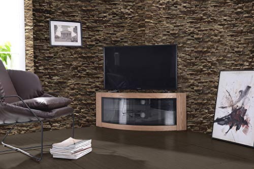 "Centurion Supports PANGEA Gloss Black Beam-Thru Curved Tru-Corner 32""-55"" TV Cabinet"