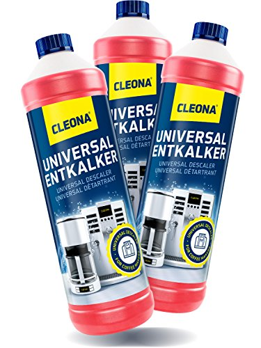 Cleona Entkalker für Kaffeemaschine & Kaffeevollautomaten - 3X 1 Liter mit Farbindikator für sämtlichen Maschinen
