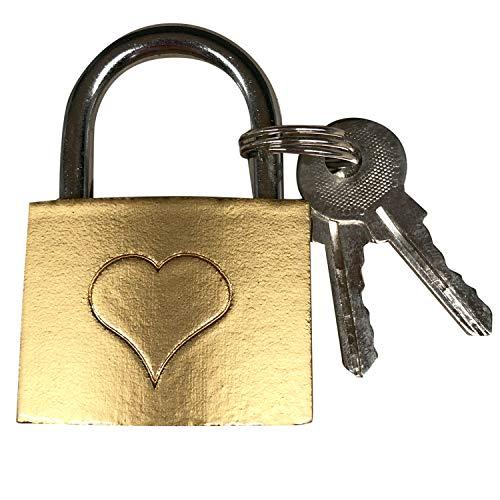 I LOVE KÖLN Liebesschloss für Paare (gold), Schloss mit 2 Schlüsseln für die Hohenzollernbrücke, Liebe
