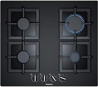 Plaque gaz 4 feux Siemens EP6A6PB20 - table de cuisson 4 foyers gaz verre noir 60 cm - Allumage une main - Sécurité par th...