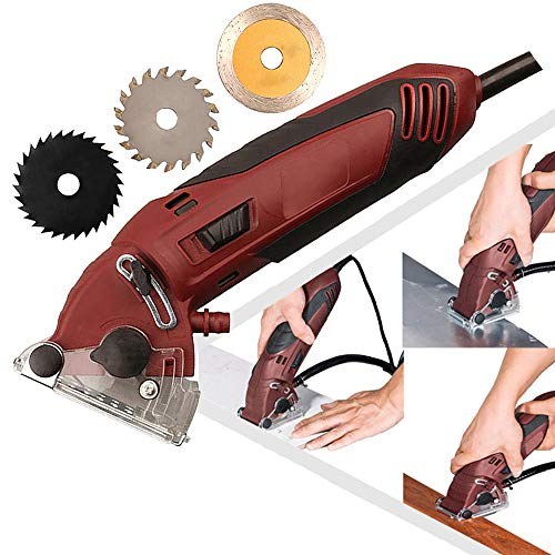 ZXMOTO Mini Electric Circular Saw Machine Set 400W Multifunction Mini Tile Cutter Saw with 3 Blades for Wood Drywall Tile Metal
