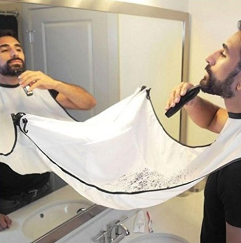 Delantal de barba impermeable de RUII, para adulto, barbero, tela, Blanco, 130x82cm